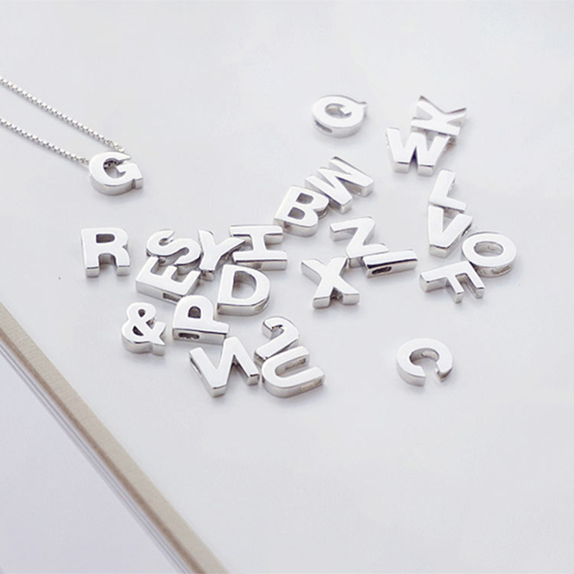 925 Sterling Silver Simple Chic Style 26 Letter <strong>Pendant</strong>