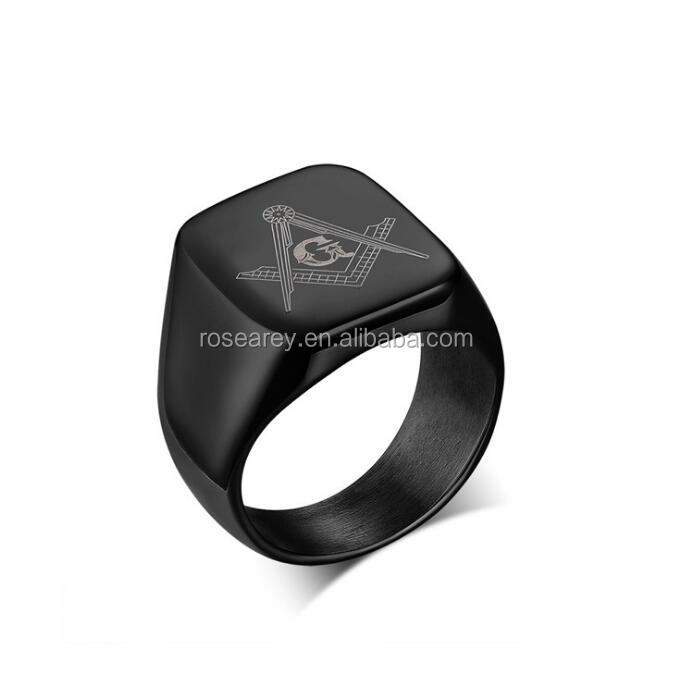 Unique Products Black Stainless Steel Masonic Large Signet Rings For Biker