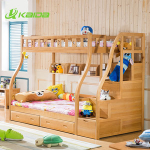 wholesale solid beech wood living room girls bunk beds with full size bed frame