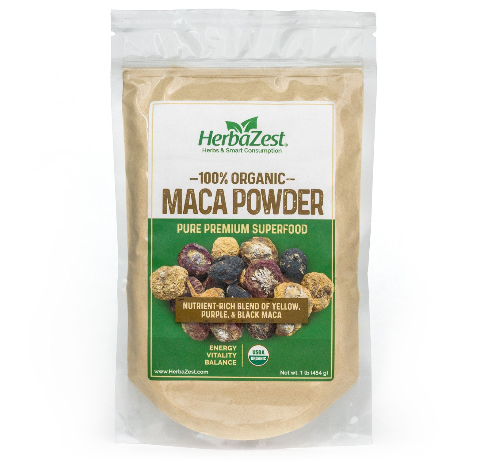 Maca Powder Organic - Peruvian Premium Blend of Yellow, Purple & Black Maca - Vegan & USDA Certified - 16oz (454g) - Perfect for Smoothies, Juices, Baking, Yogurt & Cereal