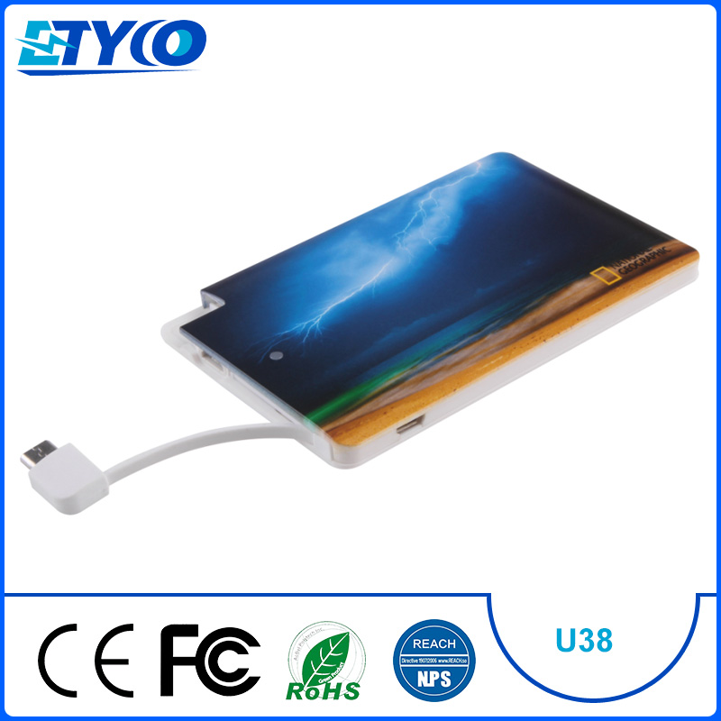 2016 Wholesale Shenzhen Best Top Unique Promotion 2500mAh Gift Item Product Ultra Thin Credit Card Size Power bank with Sucker