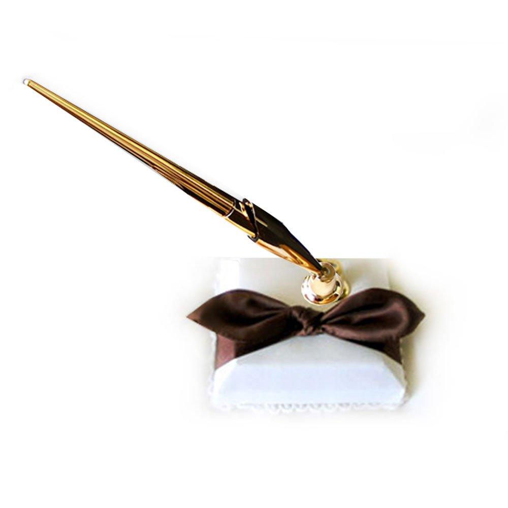SACASUSA ( ™ ) Elegant White Bridal Wedding Pen Set with Black Satin Bow