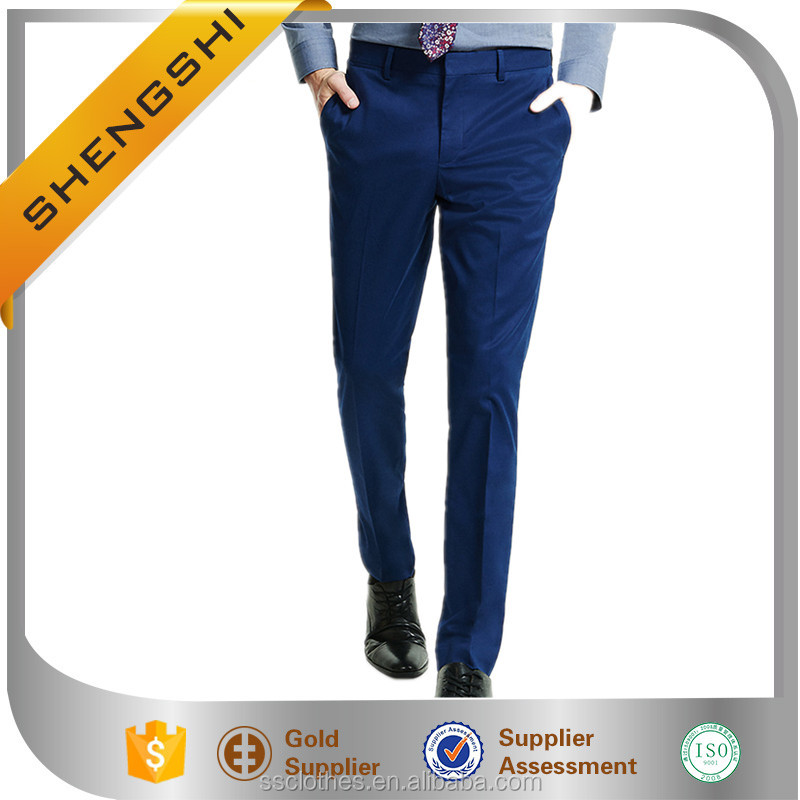 men slim innovator stretch cotton navy dress pants customized