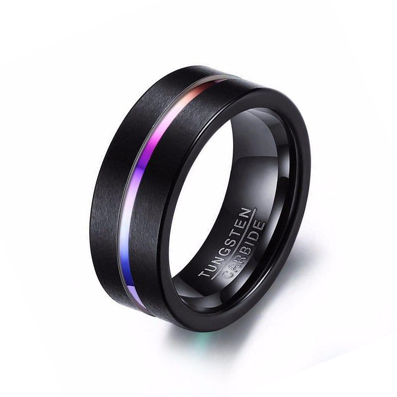 Factory Direct Sale Design Dull Polish Colorized Rainbow Your Own Tungsten Gold <strong>Ring</strong> for engagement and Wedding