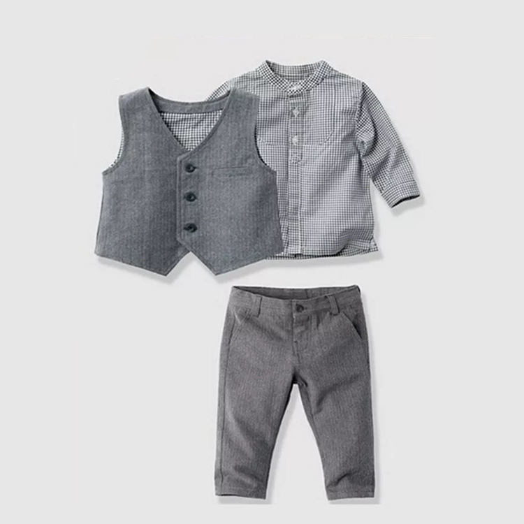 S32353W 2016 children's leisure clothing sets kids baby boy suit vest gentleman clothes for weddings formal clothing фото