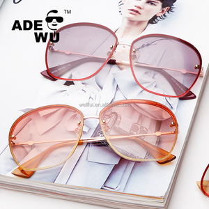 ADE WU 2018 New fashionable and simple rimless sunglasses unisex tide glasses metal frame ocean lens