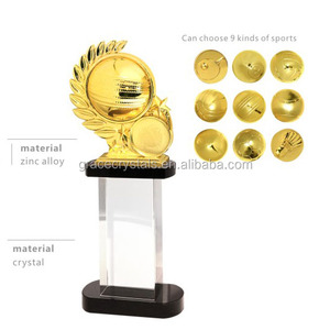 Crystal and metal combined solid sports trophy memento