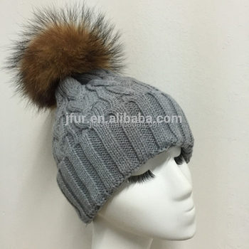 584bb7ee88e Winter Real Grey Color Raccoon Fur Pompom Hats Knitted Wool Hats ...