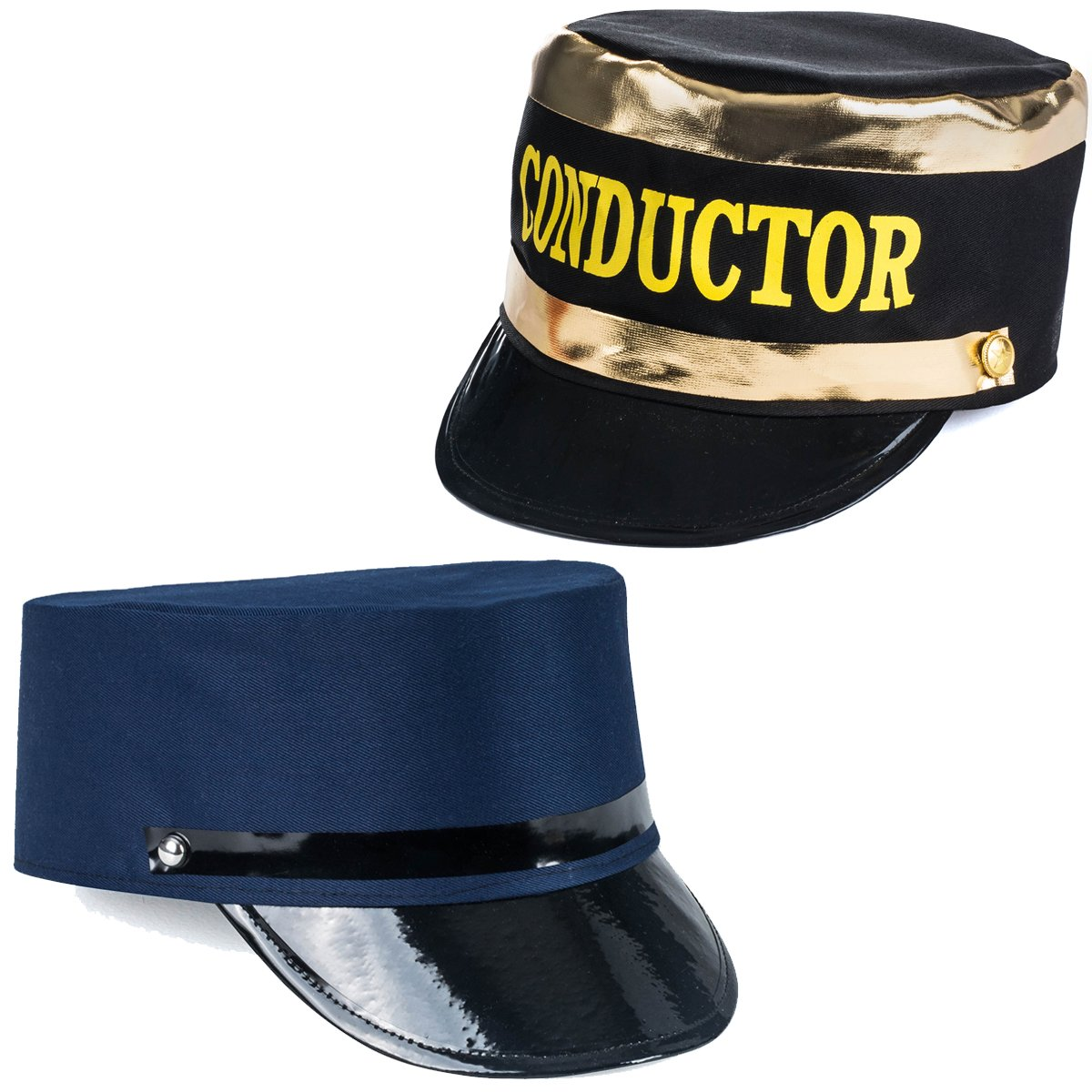 7eb1f5f7419 Get Quotations · Tigerdoe Conductor Hat - Train Engineer Hats - Costume Hats  - (2 Pack) Dress