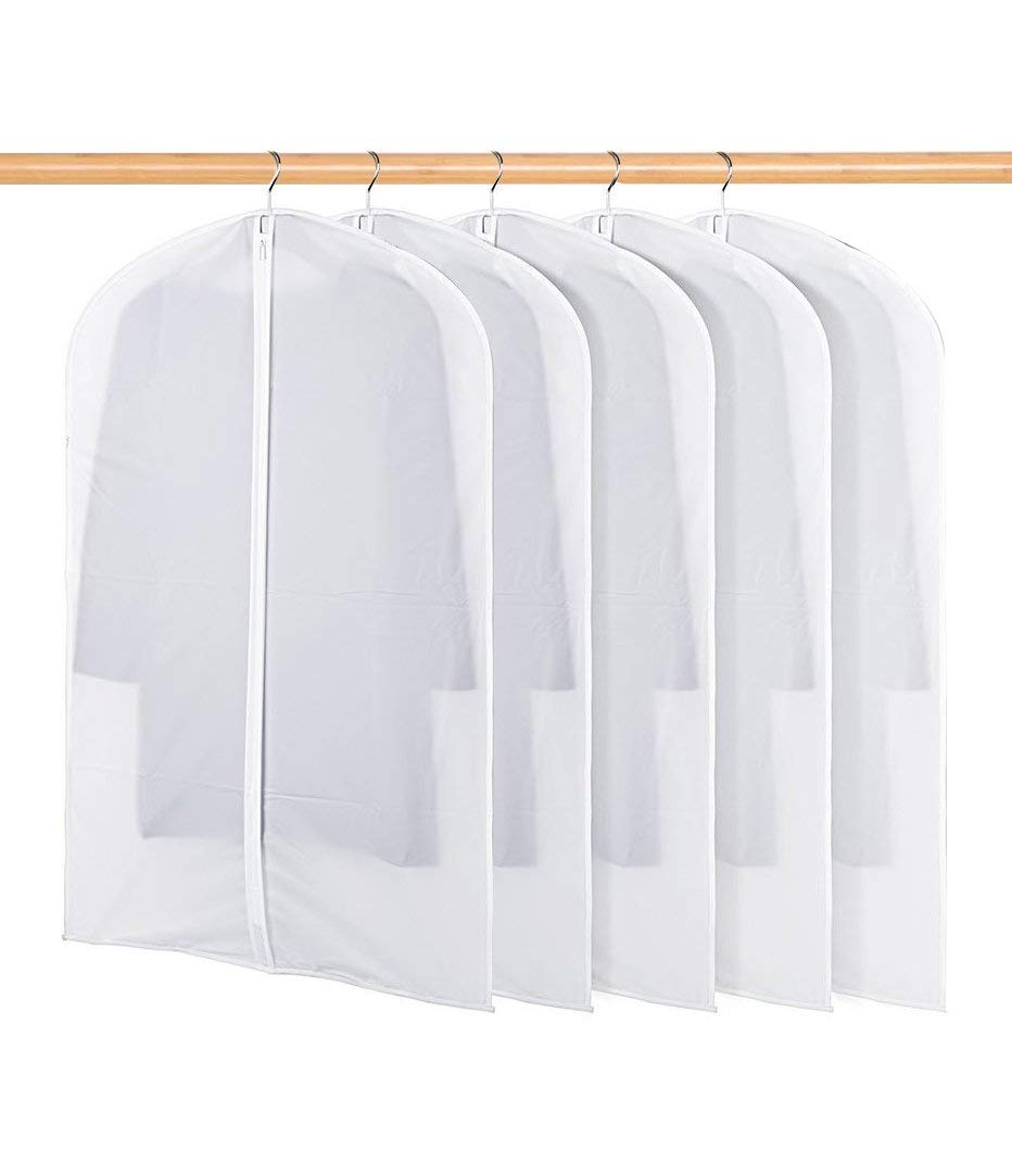 BSHUN Garment Bag Clear Plastic Breathable Moth Proof Garment Bags Cover for Clothes Storage Suits Dress Dance Zippered Breathable Pack of 5 (XL: 24'' x 43'')