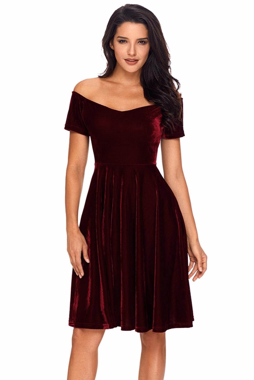 4537c6267a Wholesale-Dear Lover Velvet Dresses 2018 Sexy Womens Party Vestidos de  Festa Off Shoulder Burgundy Pleated Midi Dress Robe Velours LC61861
