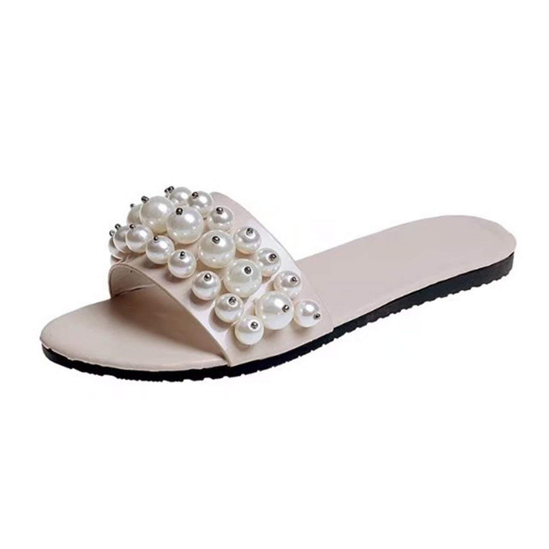 ZHOUZJ Women Summer Sandals Shoes Party Ladies Silver Rhinestone Flat Flip Flops Ladies Shoes Slippers