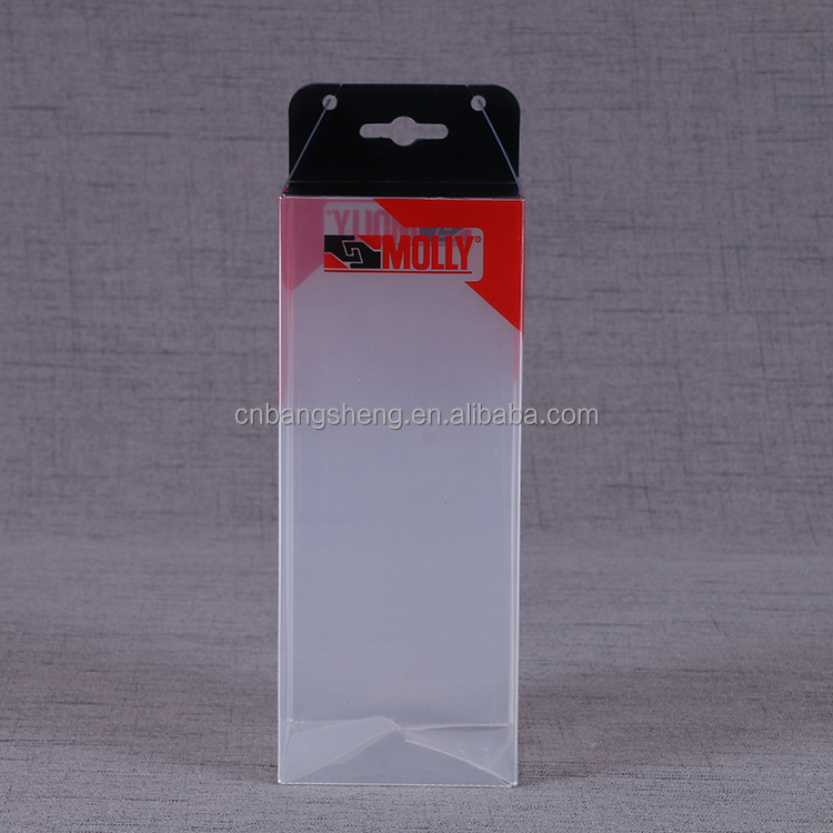 Transparent custom design pvc packaging boxes with hang hole