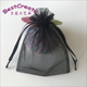 China wholesale black gift jewelry cosmetic organza bag with ribbon string