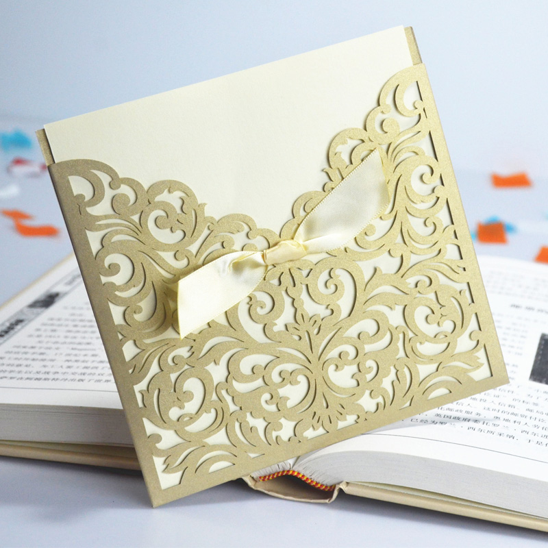 wholesale lace ribbon bow knot wedding invitation card vintage laser