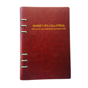 Lined leather cover FSC eco-friendly paper hardback diary spiral notebook with custom printing