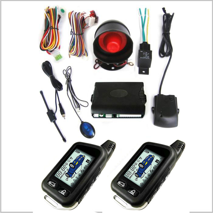 Two way car alarm system with LCD remote controller Promotional 2 way car alarm