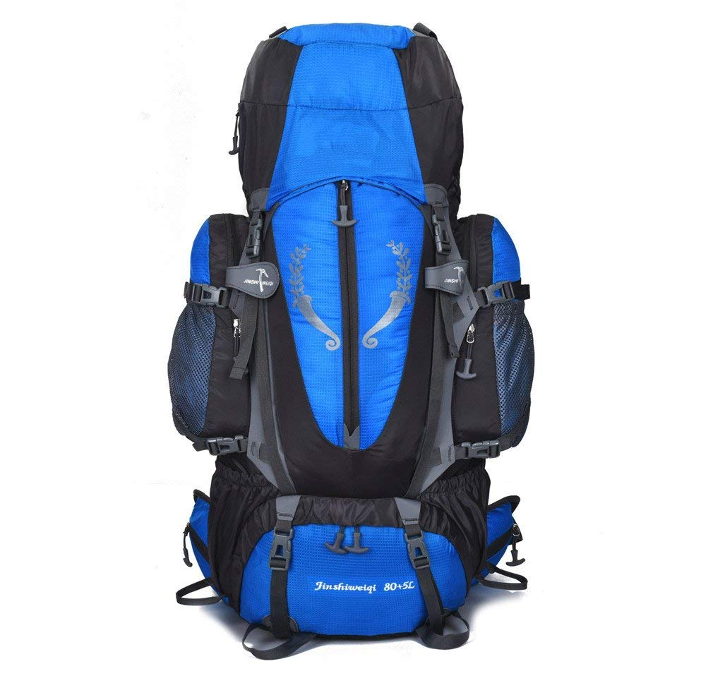 KEXKL 80+5L Outdoor Backpack Unisex Large Mountaineering Backpack Waterproof Nylon Bags Climbing Hiking Camping Rucksack one1 Other
