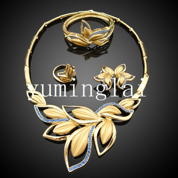Arabic Flower Wedding Jewelry Sets With New Gold Bracelet Designs