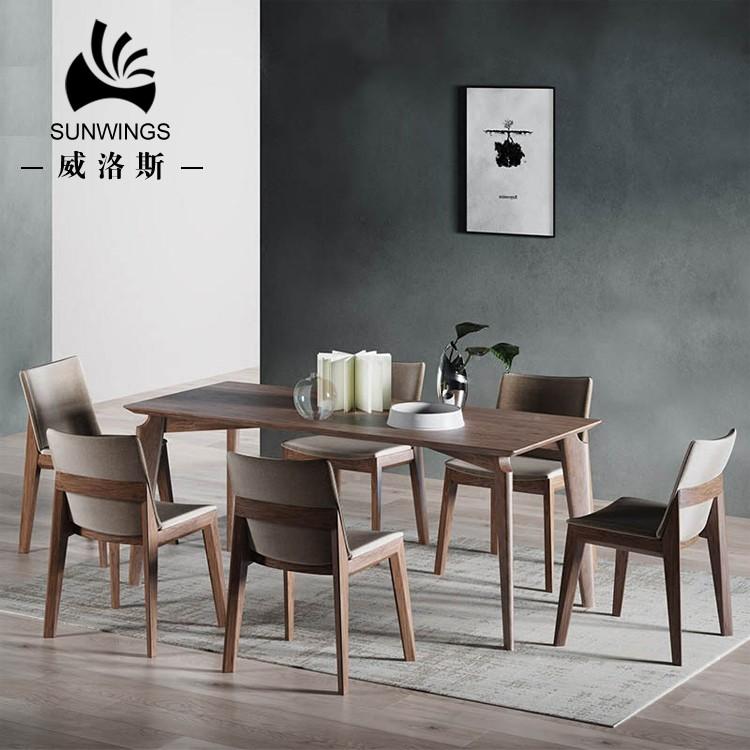 Escandinavo moderno diseños muebles de comedor mesa de comedor de madera maciza 6 sillas