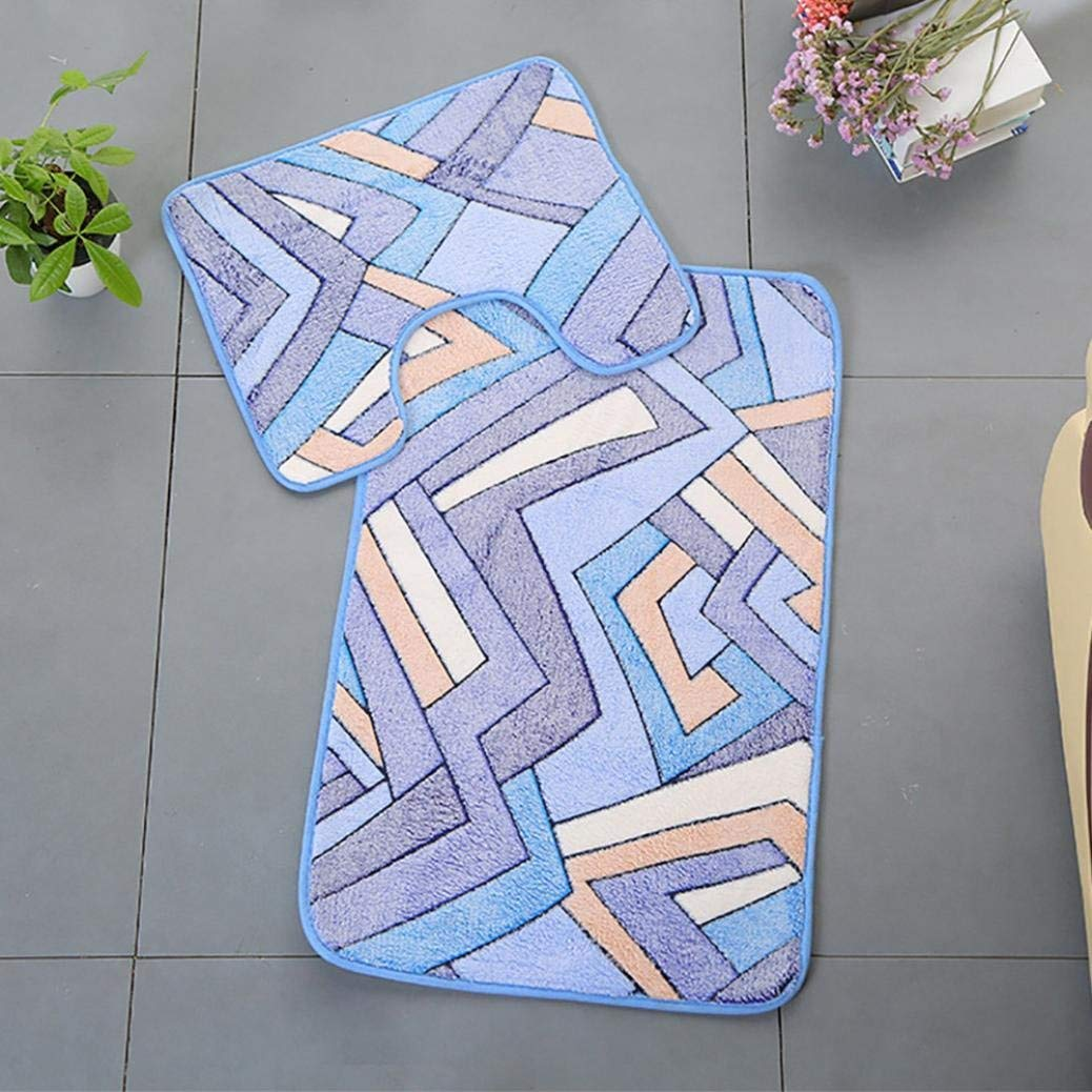 2PC Bathroom Non-Slip Floor Mat Pebbles Flower Memory Foam Bath& Pedestal Mat Seats Non Slip Soft Bathroom Shower Mat (B, Shower Mat:50 x 80cm/Pedestal Mat:40 x 50cm)