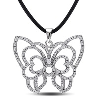 Elegant 925 sterling silver butterfly shaped necklace chain