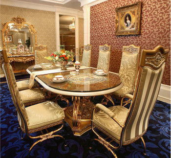 luxury french baroque design golden brass dining table with wooden top antique palace royal dining - Dining Table Luxury