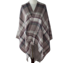 women best-selling colorful checked woven scarves runna poncho stole shawl