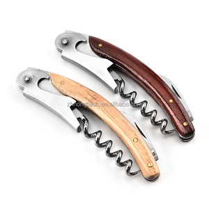 Multifuctional bottle shrimp head opener wooden handle red wine opener/beer opener /wine corkscrew
