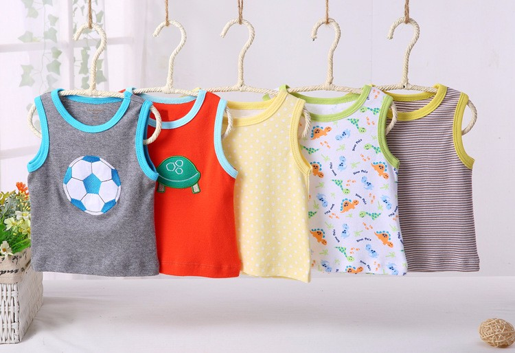 High quality 5 in 1 baby clothing gift box designs cotton embroidered sleeveless T shirts