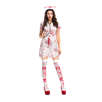 Halloween sexy bloody nurse costumes zombie cosplay party costume for women girls fancy dress