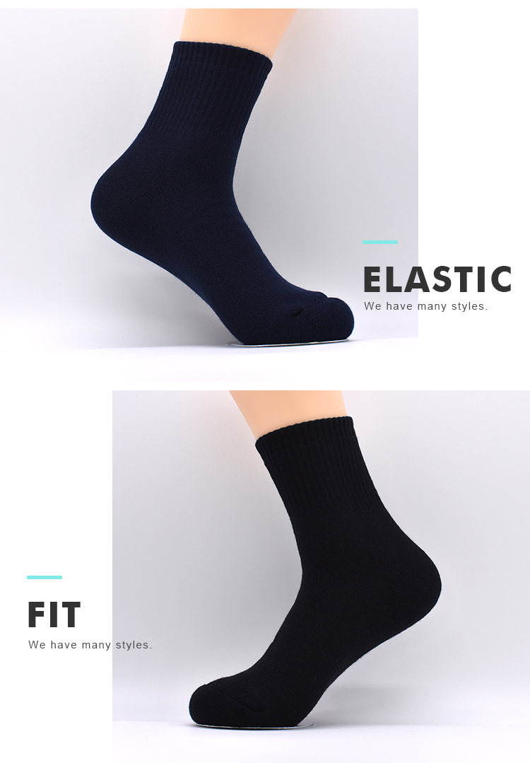 Solid Color Middle Tube Compression Calf Men's Crew Cotton Male Sports Plaid Socks For Men