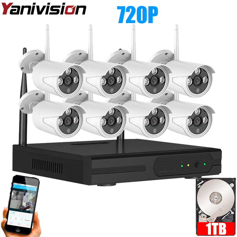 Yanivision Network H.264 HD 8CH Wireless CCTV Security Camera System Outdoor
