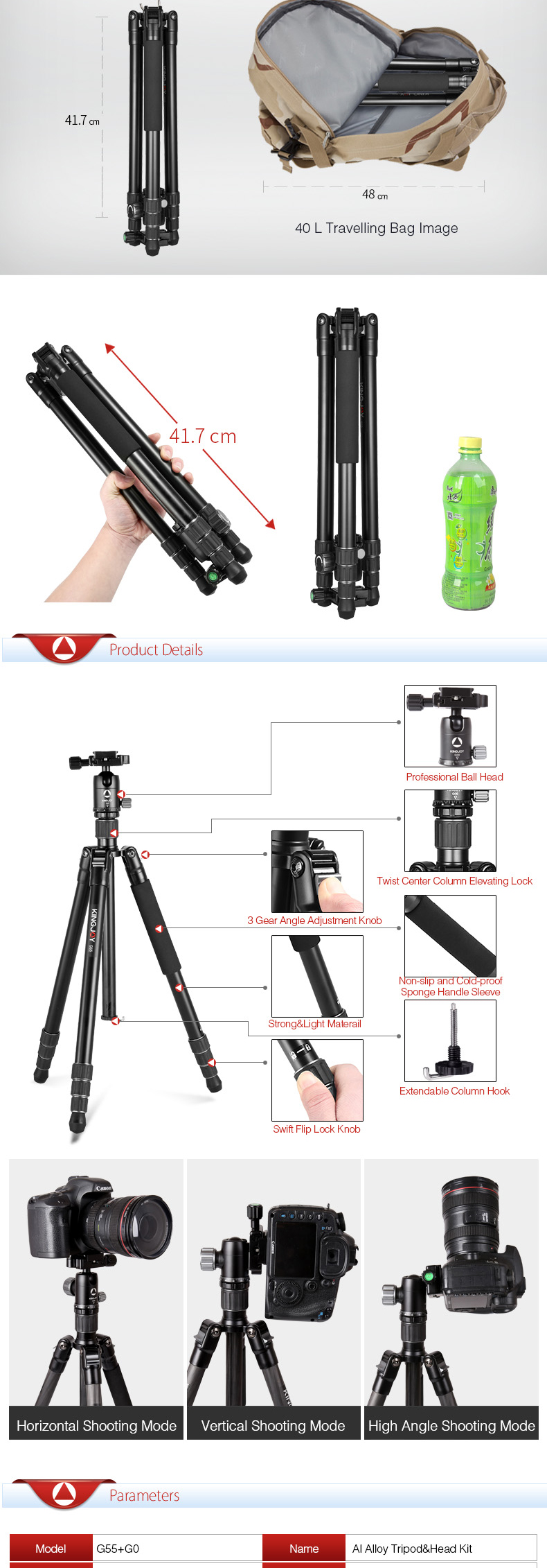 Manufacture Travel Portable Flexible Camcorder Stand Professional Digital DSLR Aluminum Camera Tripod