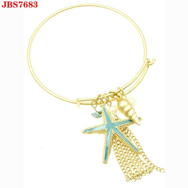 High quality fashion alloy adjustable tassel starfish pearl charm bracelet