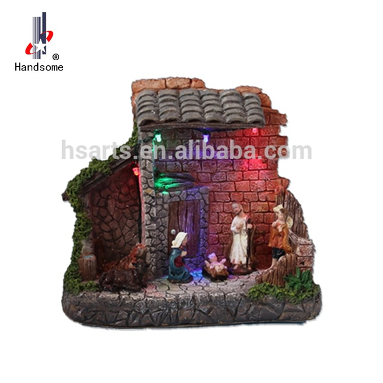 Italian Nativity Creche Wood Stable with 4 Resin Figures