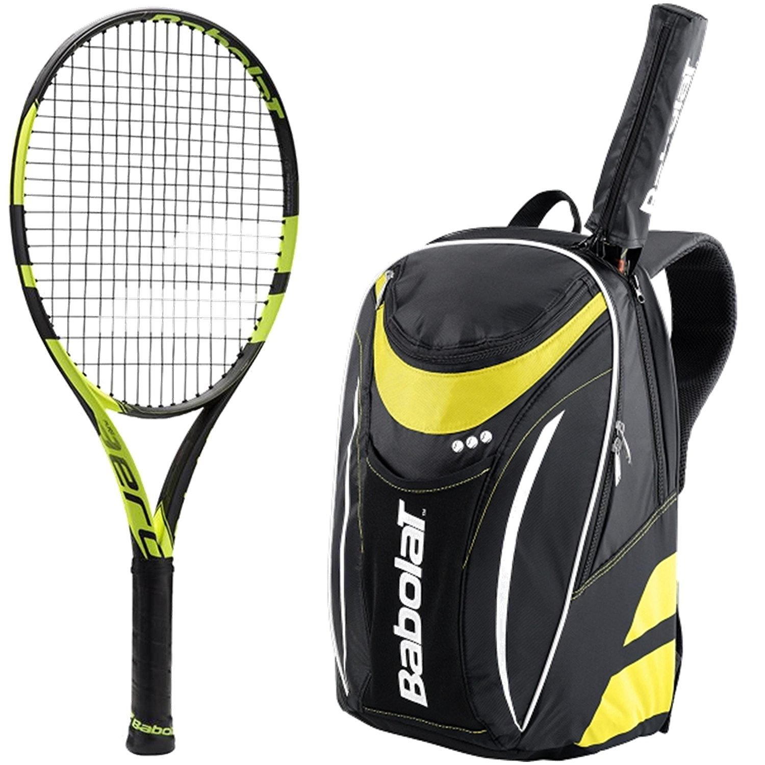 Babolat Pure Aero Junior Tennis Racquet bundled with a Club Tennis Backpack