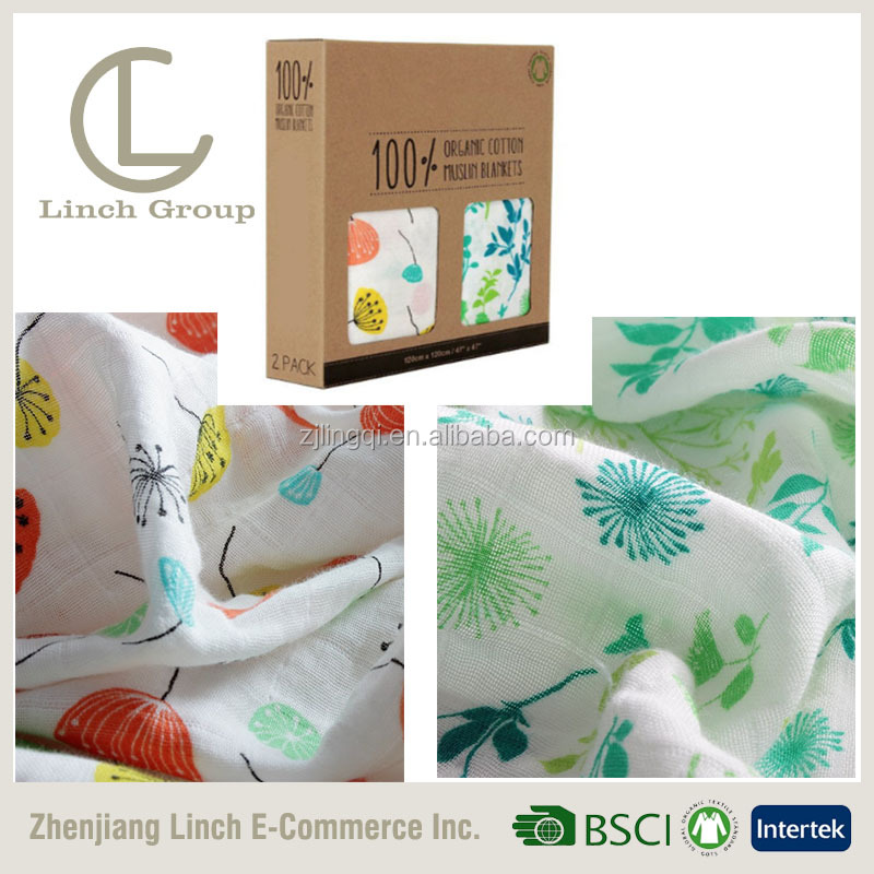 LC BT-068 100% cotton absorbent muslin blanket , breathable baby swaddle