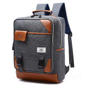 Four Color Wholesale Computer Pocket Leather Canvas Rucksack Backpack