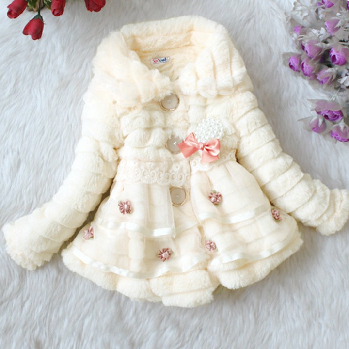Children's Girls Elegant Baby Faux Fur Fleece Lined kid Coat 18908