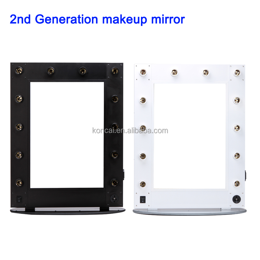 Professional aluminum frame & 12pcs lamps led makeup mirror for salon mirror station