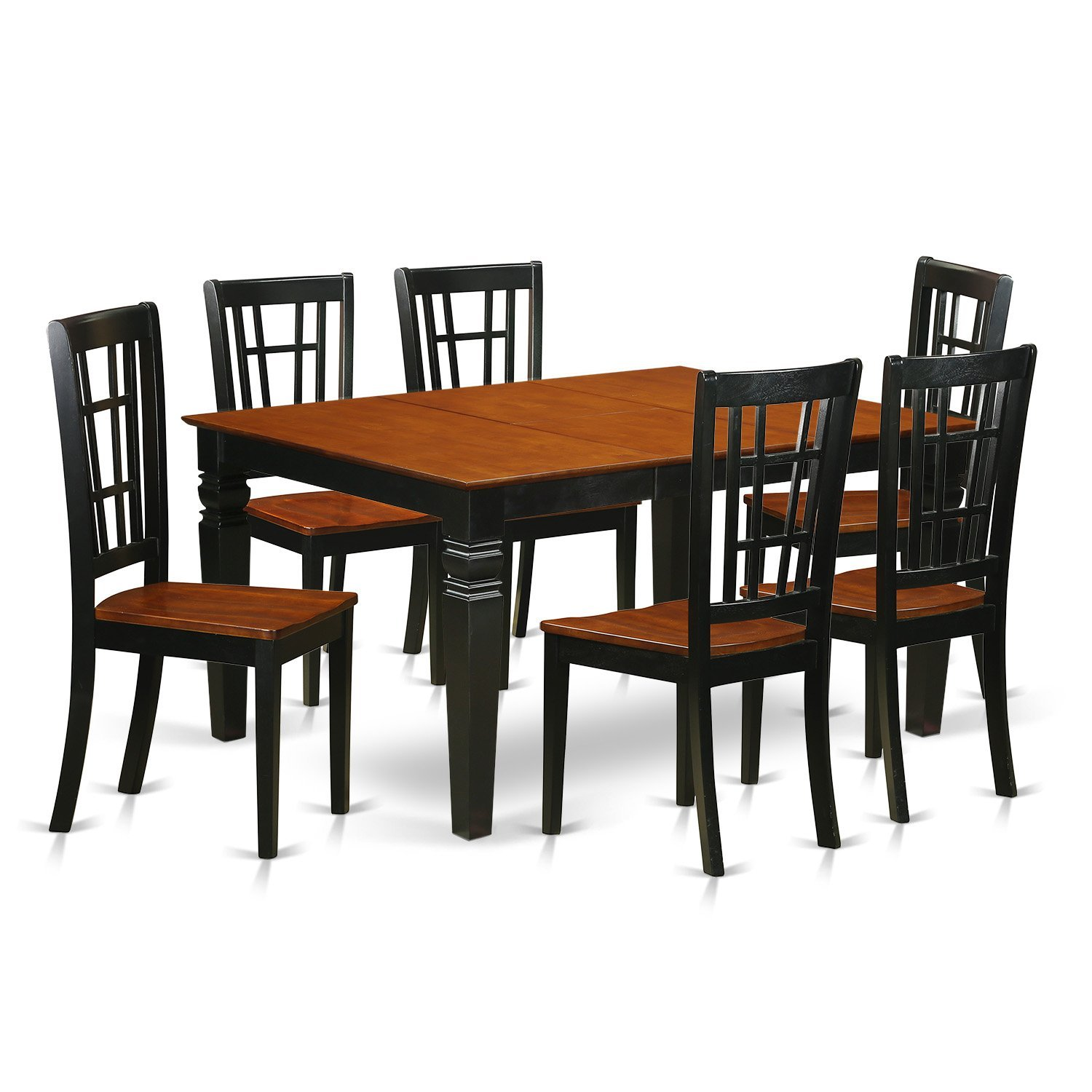 East West Furniture Weston WENI7-BCH-W 7 Pc Kitchen Set Table and 6 Wood Dining Chairs, Black