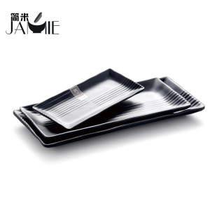 Multi size melamine plastic plate for dinner rectangle shape ,kitchen plates guangzhou