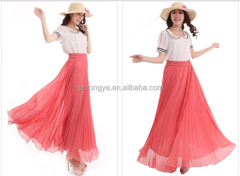 Wholesale Latest Long Skirt Design Chiffon Design Fashion Pink ...