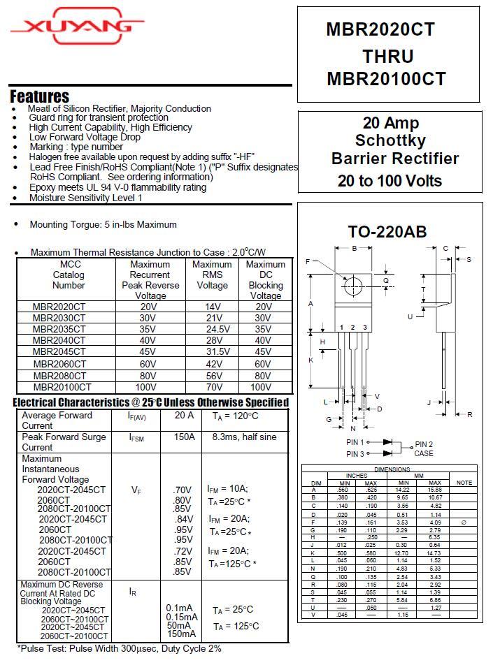 Gleichrichterdiode Schottky 10A 200V THT  ITO220AB MBR10200FCT Schottkydi Diode