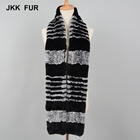 Long Knitted Scarf Thick Warm Muffler Real Rex Rabbit Fur Shawls Women Fashion Wraps
