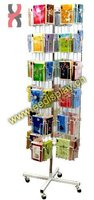 Metallic wire floor standing greeting card rotating display rack/brochure holder