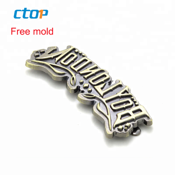 Clothing bags hardware accessories brand name label tags embossed metal plate logo custom metal tag for luggage