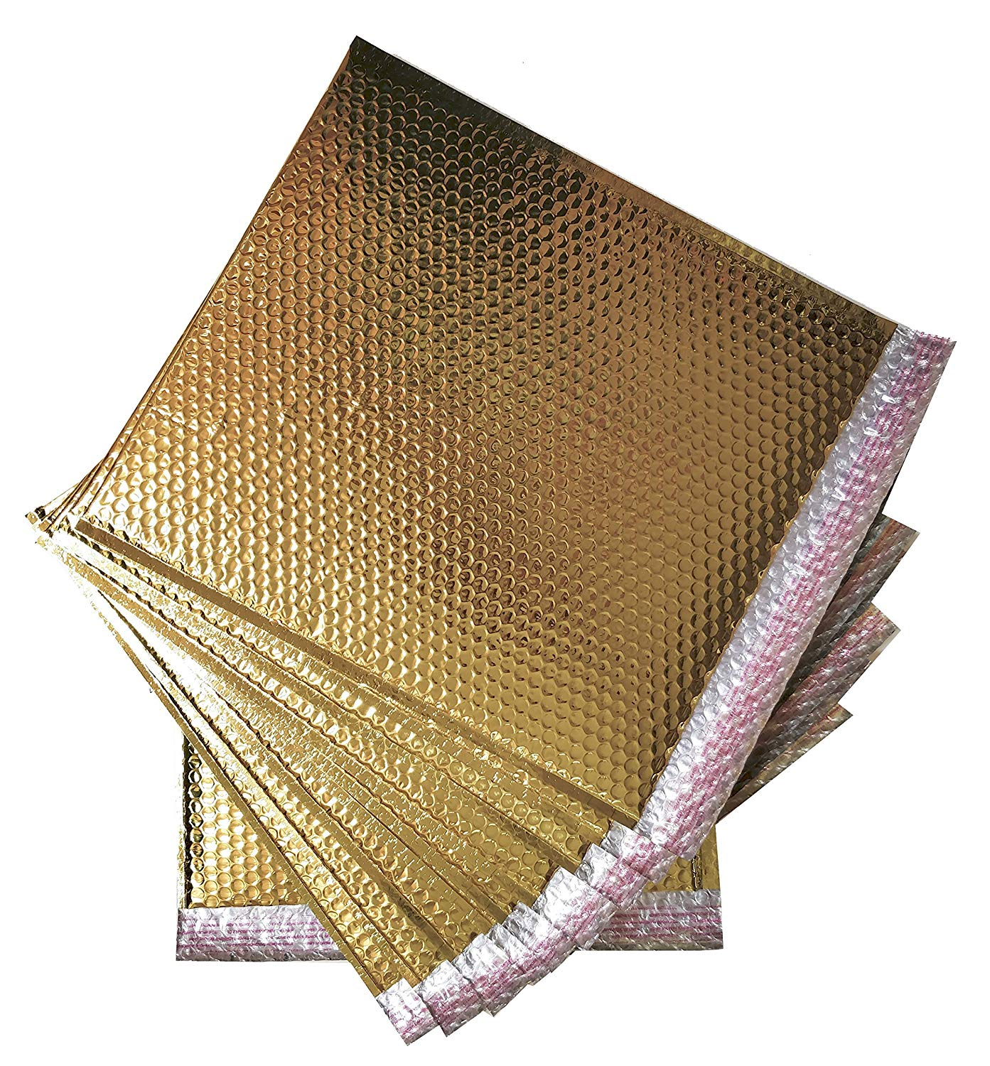 10 Pack Metallic Bubble mailers 7.5 x 11. Gold padded envelopes 7 1/2 x 11. Glamour bubble mailers Peel and Seal. Padded mailing envelopes for shipping, packing, packaging.