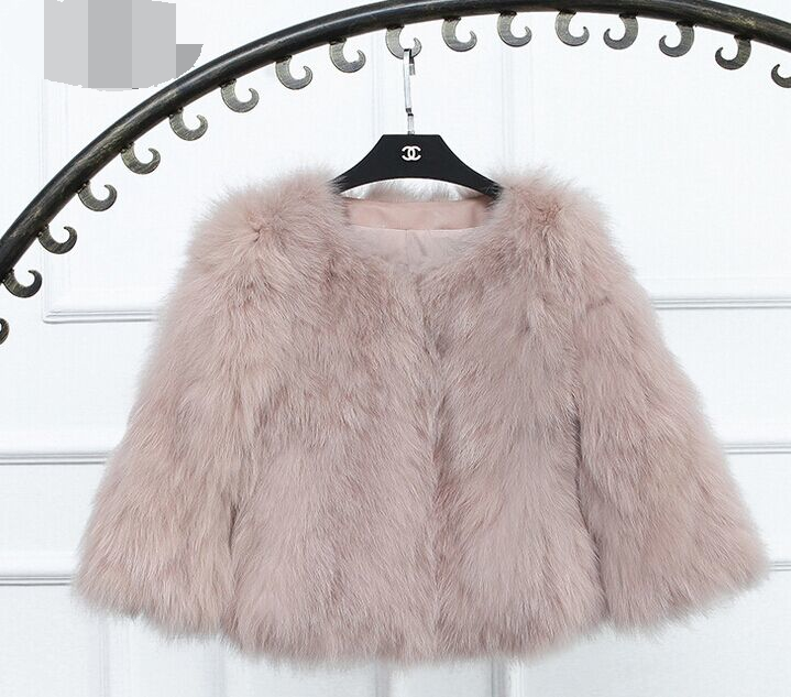 Women Fashion Real Knitted Fox Fur Coat